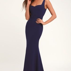 LULUS Sweetest Thing Navy Blue Maxi Dress Size M